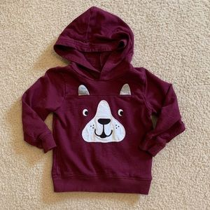 Carter's Dog Face Burgundy Hoodie {Size 3T}